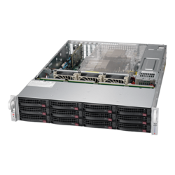 SuperServer 6029P-E1CR12H, 2U, Intel C624, 12x SATA/SAS, 16x DDR4, Broadcom 3108 AOC, Dual 10Gb Ethernet, 1200W Rdt PSU