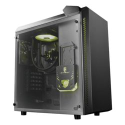 BARONKASE LIQUID Tempered Glass, w/ Integrated 120mm Liquid Cooling System, No PSU, ATX, Black Mid Tower Case