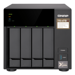 TS-473 4-bay NAS Server, AMD R-Series RX-421ND 2.1GHz, 64GB DDR4 RAM (8GB pre-installed), SATA 6Gb/s, M.2 / 2, GbLAN / 4, USB 3.0 / 4, 250W PSU
