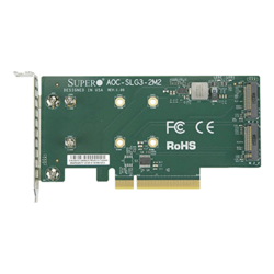 AOC-SLG3-2M2 PCI-E Add-On Card for up to two NVMe SSDs