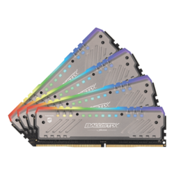 64GB Kit (4 x 16GB) Ballistix Tactical Tracer RGB DDR4 2666MHz, CL16, Silver, RGB LED, DIMM Memory
