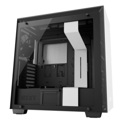 H Series H700 Tempered Glass, No PSU, E-ATX, White/Black, Mid Tower Case