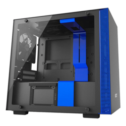 H Series H200i Tempered Glass, No PSU, Mini-ITX, Black/Blue, Mini Tower Case