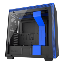 H Series H700i Tempered Glass, No PSU, E-ATX, Black/Blue, Mid Tower Case