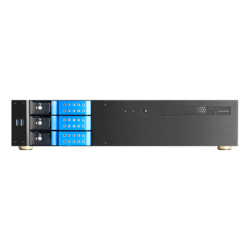 "D-230HN-DT-BLUE, Blue HDD Handle, 3 x 3.5"" Hotswap Bay, No PSU, microATX, Black, 2U Desktop Chassis"