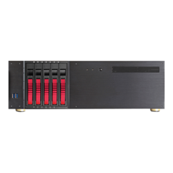 "D-350HB-DT-RED, Red HDD Handle, 1x Slim 5.25"", 3x 3.5"", 5x 3.5"" Hotswap Bays, No PSU, ATX, Black/Red, 3U Chassis"