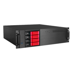 "D-340HN-T-RED, Red HDD Handle, 1x Slim 5.25"", 3x 3.5"", 4x 3.5"" Hotswap Bays, No PSU, ATX, Black/Red, 3U Chassis"