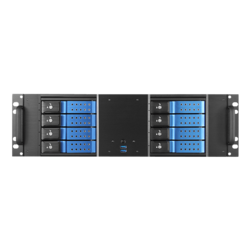 "D-380HN-BLUE, Blue HDD Handle, 8x 3.5"" Hotswap Bays, No PSU, ATX, Black/Blue, 3U Chassis"