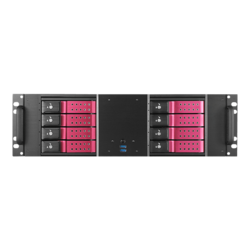 "D-380HN-RED, Red HDD Handle, 8x 3.5"" Hotswap Bays, No PSU, ATX, Black/Red, 3U Chassis"
