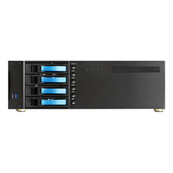 "D-340HB-DT-BLUE, Blue HDD Handle, 1x Slim 5.25"", 3x 3.5"", 4x 3.5"" Hotswap Bays, No PSU, ATX, Black/Blue, 3U Chassis"