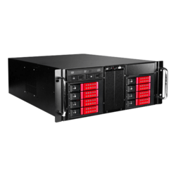 "D410-DE8RD-225T, Red HDD Handle, 1x Slim 5.25"", 8x 3.5"", 2x 2.5"" Hotswap, E-ATX, Black/Red, 4U Chassis"