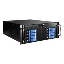 "D410-DE8BL-225T, Blue HDD Handle, 1x Slim 5.25"", 8x 3.5"", 2x 2.5"" Hotswap, E-ATX, Black/Blue, 4U Chassis"