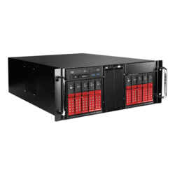 "D410-DE10RD-25TU, Red HDD Handle, 1x Slim Line 5.25"", 10x 3.5"", 1x 2.5"" Hotswap, E-ATX, Black/Red, 4U Chassis"