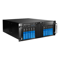 "D410-DE10BL-25TU, Blue HDD Handle, 1x Slim Line 5.25"", 10x 3.5"", 1x 2.5"" Hotswap, E-ATX, Black/Blue, 4U Chassis"