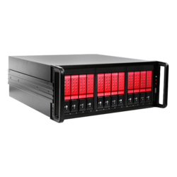 "DAGE412U40DERD-ES, Red HDD Handle, 12x 3.5"" Hotswap, 500W PSU, ATX, Black/Red, 4U Chassis"