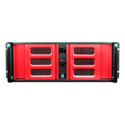 "D Storm D-407LSE-RD-TS859, Red Bezel, w/ 8"" Touch Screen LCD, 3x 5.25"", 1x 3.5"" Drive Bays, No PSU, E-ATX, Black/Red, 4U Chassis"