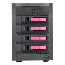 "DAGE540M1RD-PM, Red HDD Handle, 5x 3.5""/2.5"" Hotswap Bays, 250W PSU, Black/Red, Storage Tower"