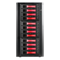 "DAGE1240RD-3MS, Red HDD Handle, 12x 3.5""/2.5"" Hotswap Bays, Black/Red, Storage Tower"