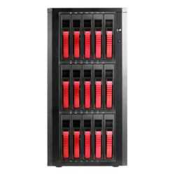 "DAGE1540RD-PM, Red HDD Handle, 15x 3.5""/2.5"" Hotswap Bays, 400W PSU, Black/Red, Storage Tower"