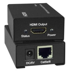 Low-Cost HDMI Extender via One CATx to 150 feet, US NEMA 1-15P with country-specific universal power plug adapter