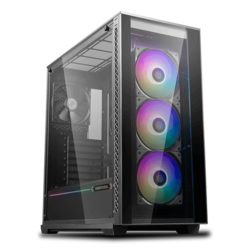 MATREXX 70 ADD-RGB 3F Tempered Glass, No PSU, E-ATX, Black, Mid Tower Case