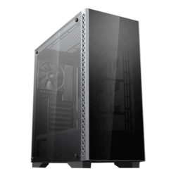 MATREXX 50 Tempered Glass, No PSU, E-ATX, Black, Mid Tower Case