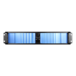 "D Storm D-200SEA-BL-RAIL24, Blue Bezel, 2x 5.25"", 2x 3.5"" Drive Bays, w/ 20"" Sliding Rail Kit, No PSU, ATX, Black, 2U Chassis"