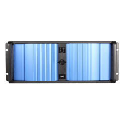 "D Storm D-400SEA-BL-RAIL24, Blue Bezel, 4x 5.25"", 3x 3.5"" Drive Bays, w/ 20"" Sliding Rail Kit, No PSU, ATX, Black, 4U Chassis"