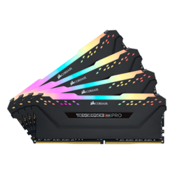 128GB Kit (4 x 32GB) Vengeance RGB Pro DDR4 3200MHz, CL16, Black, RGB LED, DIMM Memory