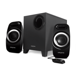Inspire Series T3300, 2.1 (2 x 5.5W + 16W), Wired Remote, Black, Retail Speaker System