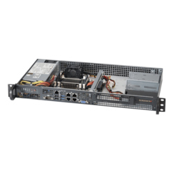 "SuperChassis 505-203B, 1x Internal 3.5"" Bay 1x Slot(s), 200W Gold PSU, Mini-ITX, Black, 1U Chassis"