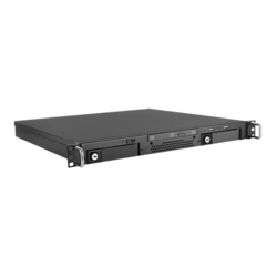"D-A120T-ITX, 1x 3.5"" internal, 2x 3.5"" Hotswap Bays, No PSU, Mini-ITX, Black, 1U Chassis"
