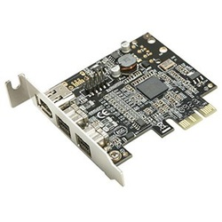 SY-PCI30010 2x IEEE 1394B / 1x IEEE 1394A FireWire Card, PCIe x1, Full-height/Low-profile, Retail