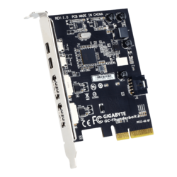 GC-Thunderbolt 2 Dual Thunderbolt / Dual DisplayPort 1.2 Expansion Card for Gigabyte motherboards*, PCIe x4