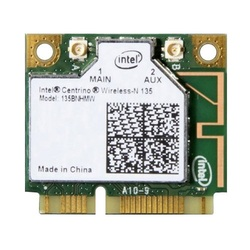 Intel® Centrino® Wireless-N 135 w/ Bluetooth 4.0, IEEE 802.11n, 150 Mbps, Internal PCIe Half Mini Card